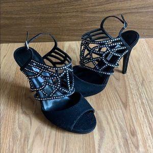 NWOT Caparros Poet Black Glimmer Evening Sandal